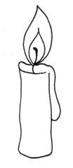 Kerze - Kerze, Flamme, Feuer, Wachs, Weihnachten, brennen, Licht, heiß, hell, leuchten, Lichtquelle, warm, tropfen, fließen, hell, Anlaut K, Illustration