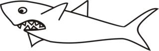 Hai - Hai, Haie, Meerestier, Fisch, Zähne, spitz, Knorpelfisch, Anlaut H, Angriff, scharf, gefährlich, Gefahr, böse, Flosse, Wörter mit ai