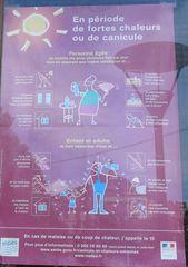 Hinweis bei großer Hitze - chaleur, fortes chaleurs, canicule, protection, malaise, coup de chaleur, personnes agées, adultes, enfants