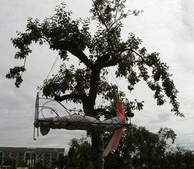 Bett im Baum#1 - Bett, Baum, Kunst, Objekt, Objektkunst