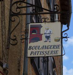 Schild - boulangerie patisserie - Bäckerei, Konditorei, boulangerie, patisserie, boulanger, patissier, Geschäft, einkaufen, Zunftschild, Zunft, Zunftzeichen