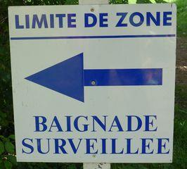 Baignade surveillée - Frankreich, französisch, civilisation, panneau, Schild, baignade, baden, baigner, surveiller, zone, limite