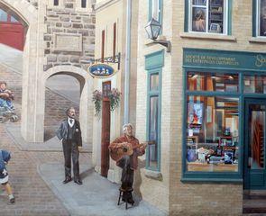 Ausschnitt Fassadenmalerei in Quebec 2# - Quebec, Canada, Kanada, Wandmalerei, öffentlich, Hauswand, Häuserwand, Wand, Musiker, Gitarrist, Malerei, Ausschnitt, Kunst, Streetart