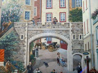 Ausschnitt Fassadenmalerei in Quebec 3# - Quebec, Canada, Kanada, Wandmalerei, öffentlich, Hauswand, Häuserwand, Wand, Kunst, Malerei, Streetart