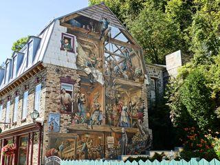 Fassadenmalerei in Quebec 4# - Quebec, Canada, Kanada, Wandmalerei, öffentlich, Hauswand, Häuserwand, Wand, Kunst, Streetart, Malerei