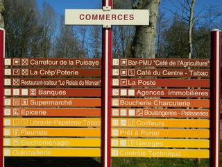 Commerces - Frankreich, civilisation, commerces, magasins, village, panneau, Schild, Übersicht, Läden, Geschäfte