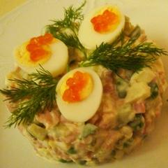 russischer Salat Olivje - Olivje, russisch, Nationalgericht, Gemüse, Vorspeise