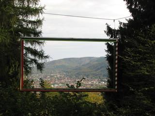 Harzburger Fenster # 2 Blick von der Bank aus - Wald, Rahmen, Ausblick, Bild, Bilderrahmen, Rechteck
