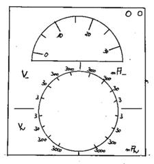 Multimeter, analog - Spannung, Stromstärke, Ableseübung, Multimeter, analog, Zeigerinstrument, Skala