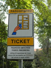parcometro#1 - Italien, parcometro, ticket, Parkautomat, Schild