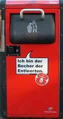 Mülleimer-Spruch 14 - Abfalleimer, Müll, Stadtreinigung, Abfallproblem, lustig, Witz, Sprachwitz, Slogan, Werbung, Parodie, Wortspiel, Humor, Sprechblase, Werbesprache