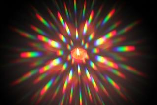 Kerze betrachtet durch Spektralscheibe - Spektrum, Spektralzerlegung, Kerze, Kerzenflamme, bunt, kontinuierliches Spektrum, Physik, Optik, Regenbogen, Licht, Lichtsrahl