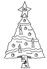 geschmückter Weihnachtsbaum - Ein Ausmalbild  - Tannenbaum, Weihnachtsbaum, Ausmalbild, Weihnachten, Tradition, Schmücken, Malen, Kugeln, Kerzen, Christbaum