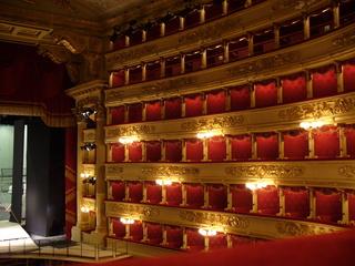 Logen der Mailänder Scala - Loge, Logen, Rang, Theater, Sitze, Sitzreihe, Etage, Italien, Mailand, Scala, Opernhaus, Oper, Orchester, Musik, Zuschauerraum