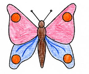 Schmetterling - Schmetterling, Falter, fliegen, Anlaut Sch, Illustration, Symmetrie