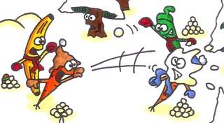 Schneeballschlacht - Schneeballschlacht, Schneeball, Winter, Möhre, Karotte, Banane, Bohne, Spaß, Schnee, Schneebälle, Duell