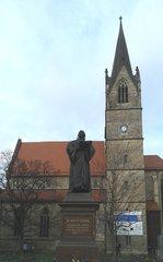 Erfurt, Kaufmannskirche mit Lutherdenkmal - Erfurt, Luther, Kirche, Reformation, Predigt