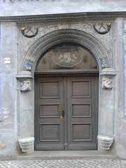Erfurt, klassisches Sitzmuldenportal an einem Renaissance-Haus - Erfurt, Portal, Eingang, Tür, Sitzmulden, Renaissance