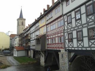 Erfurt, Krämerbrücke, Außenansicht von Norden - Erfurt, Krämerbrücke, Fachwerk