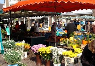 Bauernmarkt_2 - Bocholt, Bauernmarkt, Blumen, Blumenstrauß, verkaufen, Preisschild, auszeichnen, Markthändler, Markthändlerin, Käufer, Käuferin, Kunde, Kundin, kaufen, aussuchen, auswählen, Sonnenschirm