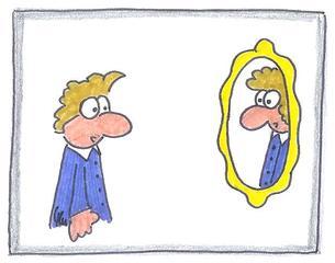 Spiegelbild - Spiegel, Spiegelbild, Schein, verkehrt, Umkehrung, Gleichnis, Religion, Cartoon