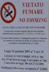 Verbotsschild - Rauchen - vietato, fumare, salute, fumatori, bambini, sanzione, legge, violazione