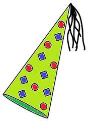 Karnevalshut farbig - Karnevalshut, Hut, Karneval, Fasching, Fastnacht, spitz, hoch, Muster, Kopfbedeckung, Zeichnung, Illustration, Verkleidung, Kostüm, Tradition