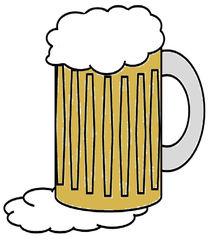 Glas Bier farbig - Glas, Bier, Maß, Humpen, Seidel, trinken, Schaum, Getränk, Alkohol, Seidel, Zeichnung, Illustration