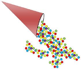 Konfetti farbig - Konfetti, bunt, Karneval, Fasching, Fastnacht, Silvester, bunt, Punkte, Farben, farbig, Zeichnung, Illustration, Spaß, rund, Tüte