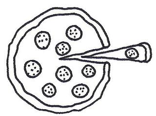 Pizza - Pizza, Pizzastück, Bruch, Bruchrechnung, Prozent, Prozentrechnung, Hauswirtschaft, Hauswirtschaftslehre, Verbraucherbildung, Essen, Italien, Gericht, Nationalgericht, Anlaut P
