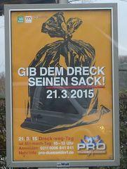 Plakat: Gib dem Dreck seinen Sack - Plakat, Umwelt, Dreck, Drecksack, Verhalten, Mitmachaktion, Aufruf, Bitte