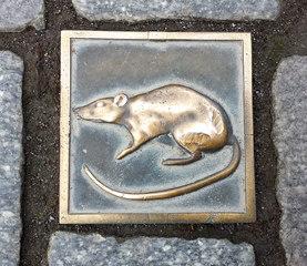 Hameln: Ratte als Wegmarkierung - Hameln, Rattenfänger, Ratte, Boden, Pflasterstein, Markierung, Wegweiser, Orientierung, Tourismus