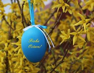 Frohe Ostern! - Ostern, Karte, Gruß, grüßen, Ei, blau, Schmuck, schmücken, Frühling, Fest, österlich, Osterei, froh
