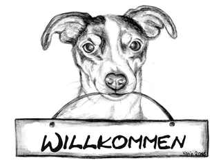 Willkommensschild mit Jack Russell Terrier - Hund, Jack Russell Terrier, Haustier, Tier, Willkommen