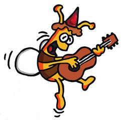 Gitarrenbiene - Biene, Imme, Hummel, Party, Partyhut, Feier, feiern, Musik, musizieren, fliegen, gute Laune, Frühling, Frühjahr, Sommer, Insekt, Bienenvolk, Partybiene, Lagerfeuer, Gesang, Minnegesang, Fete, Fest, Lied, Illustration