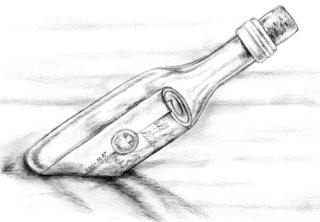 Flaschenpost - Flasche, Flaschenpost, Botschaft, Nachricht, Hilferuf, Rettung, Versandform, Transportmittel, Schreibanlass