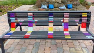 Urban Knitting #12 - stricken, häkeln, Kultur, Knitting, Graffiti, Kunst, Motiv, Impression, Motiv, warm, Wolle, Strickkunst, Objektkunst, Kunstobjekt, bunt, Verschönerung, Gemeinschaft