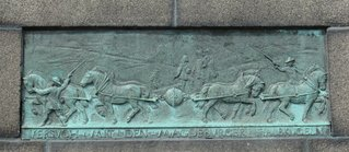 Magdeburger Halbkugeln - Bronzetafel am Denkmal für Otto von Guericke - Guericke, Vakuum, Kraft, Physik, Halbkugel, Kugel, Luftdruck, Druck