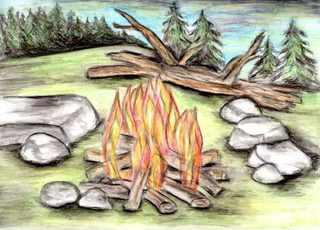 Lagerfeuer - Feuerstelle, Feuer, Flamme, brennen, lodern, Märchen, Rumpelstilzchen, Erzählanlass, Schreibnlass, Flammenbildung, Verbrennung, Wärme, Licht, Verbrennungslehre, Brennstoff, Sauerstoff