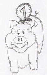Sparschwein mit Geld, gezeichnet - sparen, Sparschwein, Geld, Symbol, Anlaut Sp, Schwein, Illustration, Humor