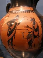 Urteil des Paris auf griechischer Amphore - Amphore, Vasenmalerei, Paris, Antike, Attika, attisch, Sage, Troja