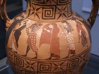 Urteil des Paris auf etruskischer Amphore - Antike, Griechenland, Amphore, Etrusker, Hermes, Paris, Aphrodite, Hera, Athene