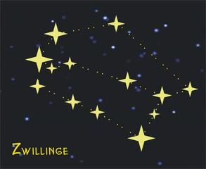 Sternbild Zwillinge (Gemini) – Tierkreiszeichen Zwillinge: - Astronomie, Astrologie, Himmel, Sterne, Sternzeichen, Tierkreiszeichen, Nacht, Sternbilder, Zwillinge.