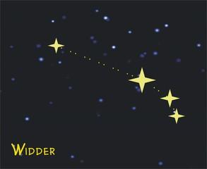 Sternbild Widder (Aries) – Tierkreiszeichen Widder:  - Astronomie, Astrologie, Himmel, Sterne, Sternzeichen, Tierkreiszeichen, Nacht, Sternbilder, Widder.