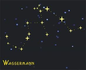Sternbild Wassermann (Aquarius) – Tierkreiszeichen Wassermann: - Astronomie, Astrologie, Himmel, Sterne, Sternzeichen, Tierkreiszeichen, Nacht, Sternbilder, Wassermann.