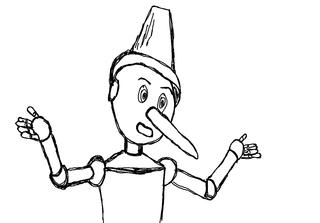 Pinocchio sw - Lüge, lügen, Nase, Figur, Geschichte, Erzählung, Erzählanlass, Illustration, Vorlage, Märchen
