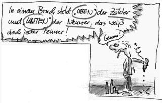 Cartoon zum Thema Bruchrechnung (Teil 2) - Bruchrechnung, Brüche, Bruch, Zähler, Nenner, Cartoon, Zeichnung