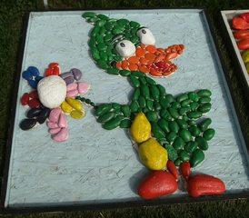 Kunst mit Steinen #4 - Steine, bemalt, Ente, Blume, Steinprojekt