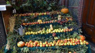 Früchte zum Erntedankfest #2 - Herbst, Erntedank, Erntedankfest, Erntekrone, Altar, Altarraum, Kircheninnenraum, Kürbis, Gemüse, Früchte, Brauchtum