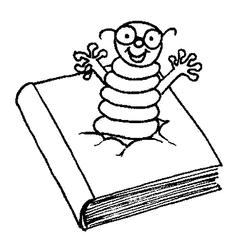 Bücherwurm - Buch, Bücher, Bücherwurm, Raupe, Wurm, lesen, Leseförderung, Lesepass, Illustration
